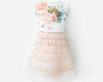 HAUTE COUTURE flowergirl dress dress, hand made embroidery dress, gold-apricot dress, PLI Lake dress, beaded dress,