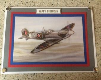 Large A5 Handmade Happy Birthday card 3D decoupage Spitfire plane aeroplane