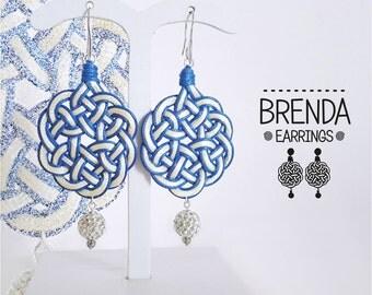 Brenda Earrings. Fabric. Celtic knot. White earrings
