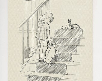Christopher Robin and Winnie the Pooh - Bump, bump, bump going up the stairs - classic print copy of original drawing by E.H. Shepard  #32