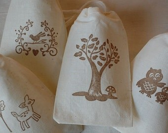 40 Woodland Tree, Deer, Owls and Bird muslin cotton party favor bags 4x6 inch - goodie bags, all occasion bags - you choose ink color