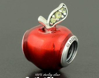 Authentic Genuine PANDORA Silver Snow White's Apple Disney Charm - 791572EN73