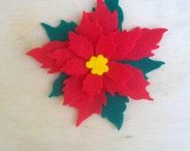6 die-cut poinsettia flower in pannolenci