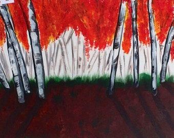 Canvas 38, Birch Trees in the Fall