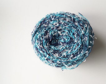 Blue yarn, teal yarn, knitting yarn, crochet yarn, textured yarn, white yarn, yarn lot, big skein, cheap yarn, synthetic yarn, light yarn