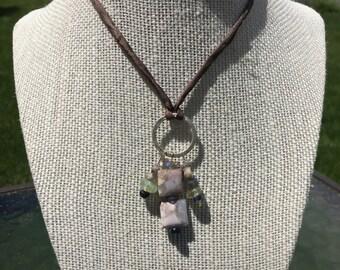 Boho Agate Necklace Sage and Night Sky