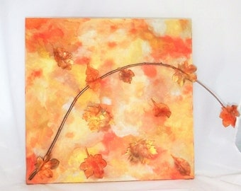 Mixed Media Painting Fall Leaves 24 x 24 Canvas Autumn gold orange copper yellow nature leaf foliage harvest decor wall hanging office