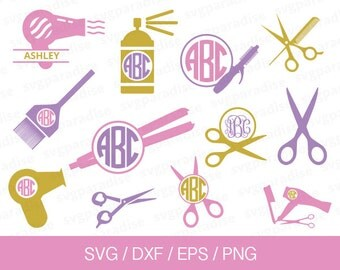 Hairdresser Svg, Hair Dresser Monogram Frame Svg, Svg, Eps, Dxf, Png use with Cricut & Silhouette