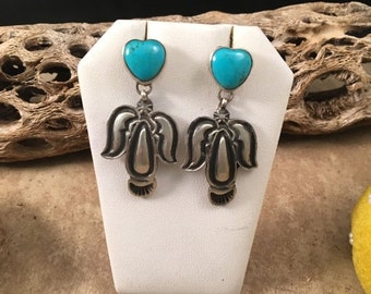 ON SALE Vintage Navajo Sterling Silver and Turquoise Dangle Earrings