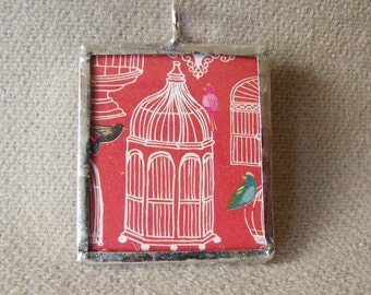 Antique Victorian Birdcage Illustration in Handmade Soldered Glass Pendant