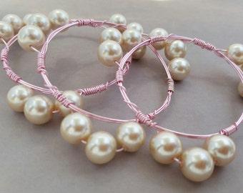 Bridesmaid Pearl & Blush Wire Bangle