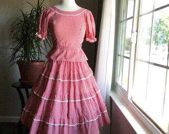 1950s cotton gingham patio dress set