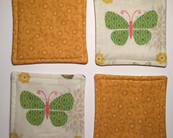 Green Butterfly Reversible Coaster - Set of 4