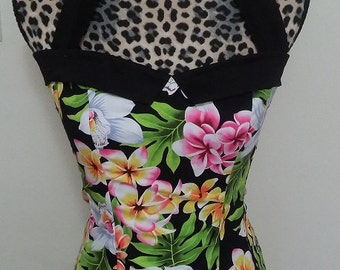 Floral Pinup/ Rockabella Sailor Collar Halter Top Sz. S, M, L, XL