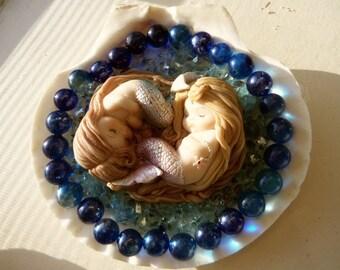 Mermaid Babies in Seashell