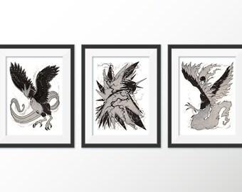 Ardent Legends Series: The Legendary Birds 3 Print Set [5x7 PRINTS, METALLIC]