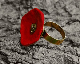 Papaverring, Papaver ring, Poppy Ring, handmade in Belgium.