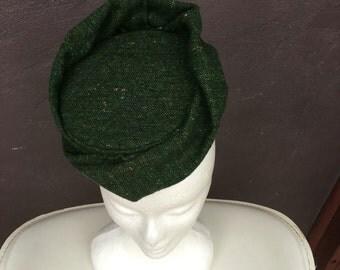 Green tweed pillbox