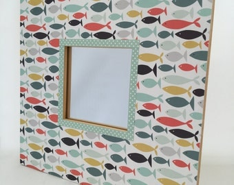 Decorative mirror, Fish Seaside Pattern in Turquoise, Mustard and Red, Wall Mountable