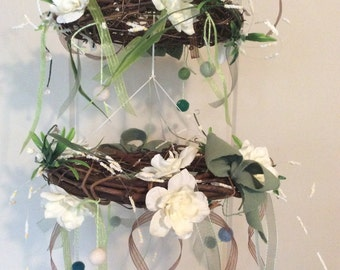 Two-Tiered Floral Baby Mobile