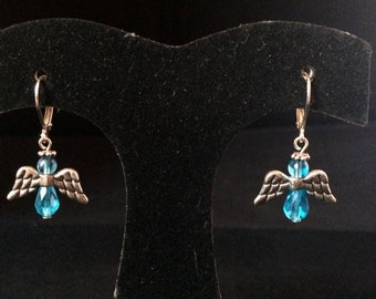 Blue or Pink Sparkling Angel Earrings