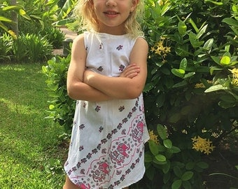 Girl's White Cotton Dress with Pink Elephants