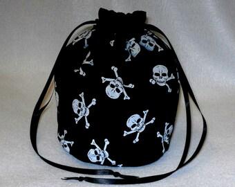 Black & White Skull And Cross Bones Evening Fancy Dress Handbag Dolly Bag/ Purse