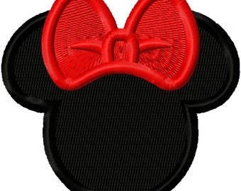 Miss Mouse Head Silhouette Mini Solid Fill Embroidery Design 1x1 2x2 3x3 INSTANT DOWNLOAD