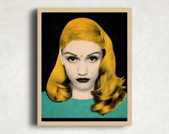 Gwen Stefani | Portrait |Pop Art Portraits | Digital Download Art| Printable Wall Art| andy warhol | colorful modern art | digital file art|
