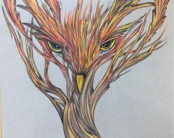 Original Colored Pencil Tree Owl
