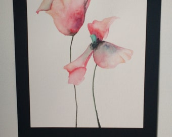 Original Watercolor Painting of Poppies Mounted on Black Cardstock