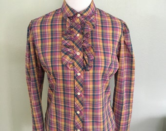 Vintage plaid ruffle long sleeve shirt