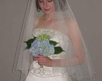 "2 Tier Wedding Veil - 30""/34"" bridal veil with scalloped beaded edge"