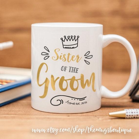 Customized Wedding Mugs : Sister of the Groom mug, customized wedding reception mug