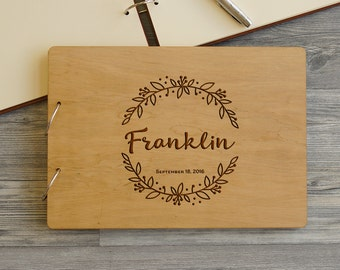 Wedding Guestbook Wreath, Wood Guestbook, Wooden Wedding Guest Book, Custom Guestbook, Engraved Wedding Guestbook, Monogrammed Guestbook