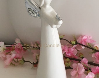 On Sale Beautiful Serene White Angel With Bright Silver Wings stands 20 cm High