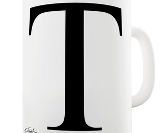 Alphabet Monogram T Ceramic Novelty Mug