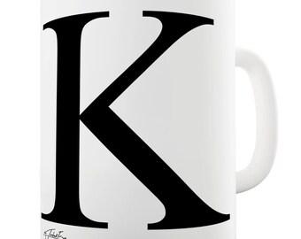 Alphabet Monogram K Ceramic Tea Mug
