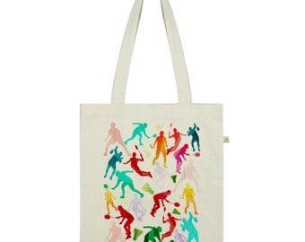 Rainbow Badminton Silhouette Tote Bag