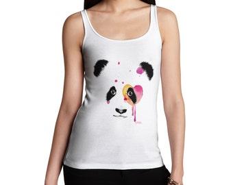 Women's Watercolour Panda Face Tank Top