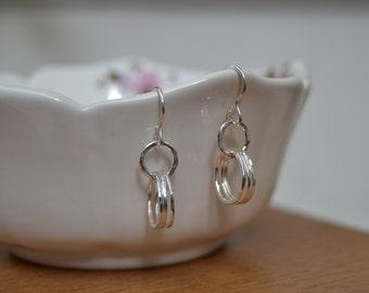 Sterling Silver Triple Hoop Earrings, Silver Earrings, Hoop Earrings, Dangle Earrings, Earrings, Silver Jewellery, Minimalist Earrings,