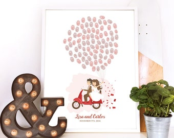 scooter guest book, motorbike wedding guestbook, moped guest book, thumbprint balloon wedding book, motorbike guest book, thumbprint tree