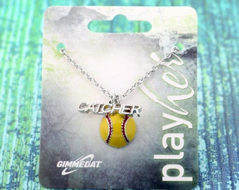 Customizable Softball Catcher Enamel Necklace - Personalize with Softball Jersey Number, Heart Charm, or Letter Charm! Great Softball Gift!