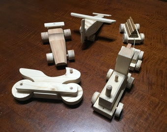 Handmade wooden toys-toy train, motorcycle, race car, plane