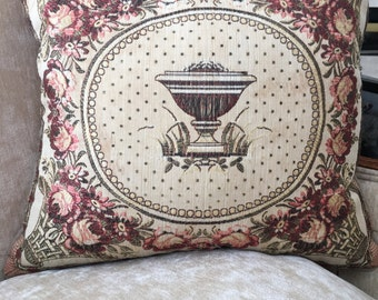 Custom Throw Pillow with Antique Fabric on Face of Pillow