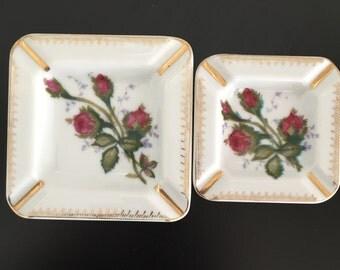 Vintage Stackable Porcelain Ash Trays in Floral Design, Ash Trays