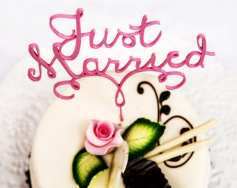 3D printed Just Married Wedding Cake Topper | Wedding decoration