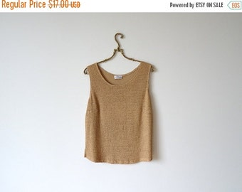 ON SALE Beige Top Oversized Top Sleeveless Top  Disco Party Size Large