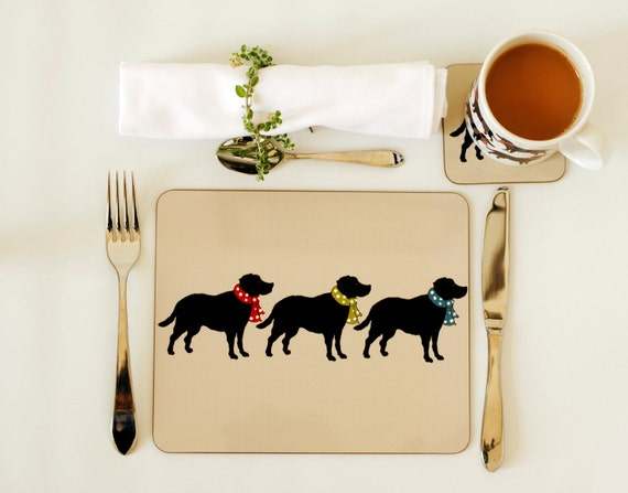 Heat Resistant Mat For Dining Table ... table mat set of four. Labrador tableware. Labrador dining accessories