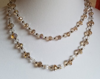 Set: Clear and Iridescent Pinkish Crystal Necklace Set